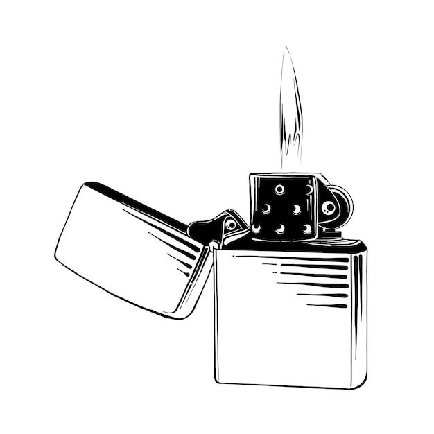 Hand gezeichnete skizze des stahlfeuerzeugs im schwarzen Premium Vektoren