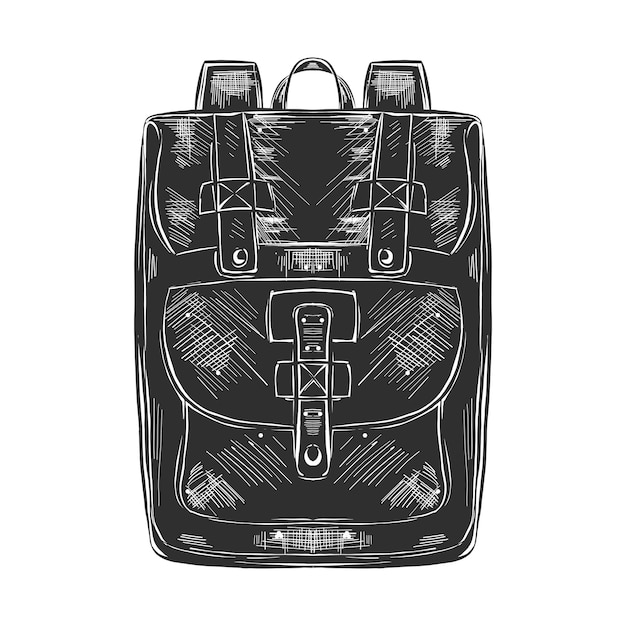 Hand gezeichnete skizze des taschensatzes im monochrom Premium Vektoren