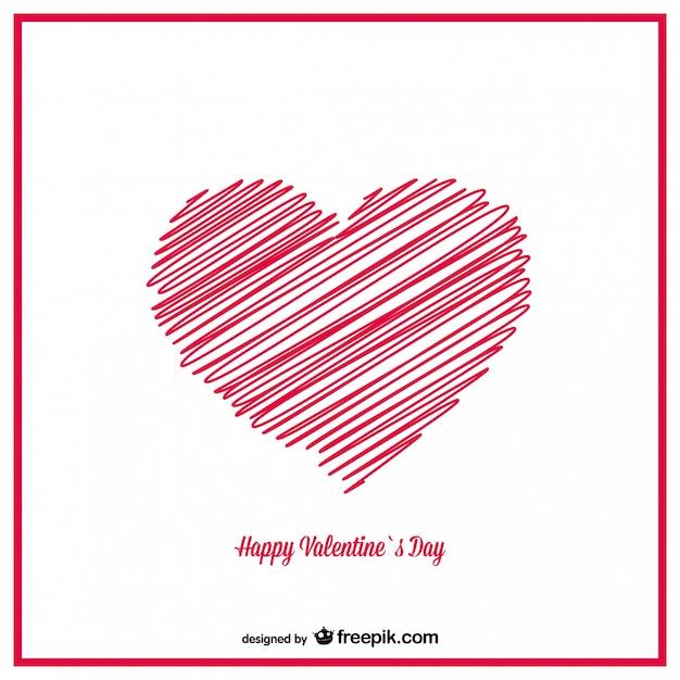 Hand Gezeichnete Skizze Herz Valentinstag Karte Design Kostenlose Vektoren