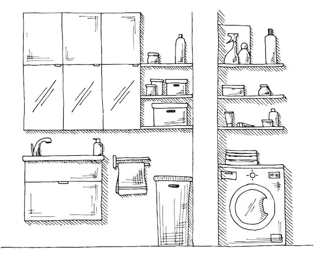 Hand gezeichnete skizze. lineare skizze eines innenraums. ein teil des badezimmers. illustration. Premium Vektoren