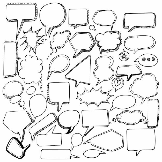 Hand gezeichnete skizze sprachblase set design Kostenlosen Vektoren