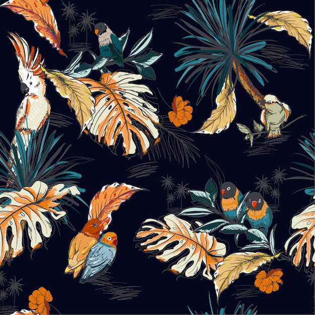 Hand gezeichnete skizze tropisch mit exotischen papageienvögeln Premium Vektoren