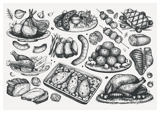 Hand gezeichnete skizzen für gekochte fleischgerichte. lebensmittelillustration. gravierte fleischprodukte, steaks, würstchen. menüelemente des fleischrestaurants. lebensmittelsammlung Premium Vektoren