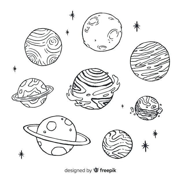 Hand gezeichnete skizzenplanetensammlung in der gekritzelart Kostenlosen Vektoren