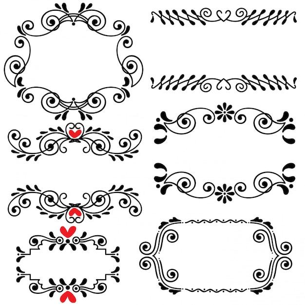 Hand gezeichnete skizzierte linie grenzhochzeitskunst-vektorillustration Premium Vektoren