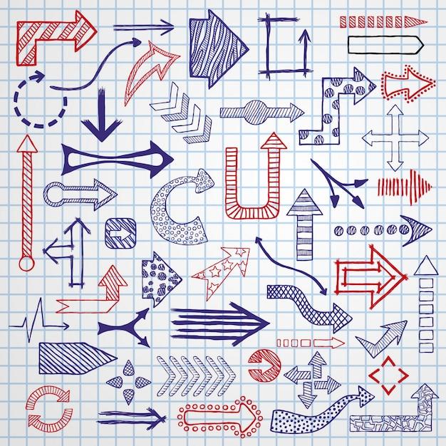 Hand gezeichnete skizzierte pfeile in den verschiedenen formen eingestellt. Premium Vektoren