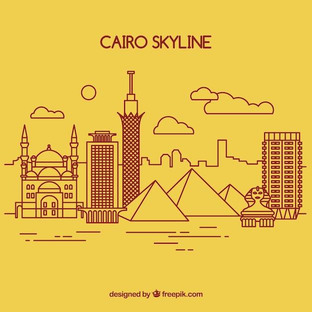 Hand gezeichnete skyline von kairo, ägypten Kostenlosen Vektoren