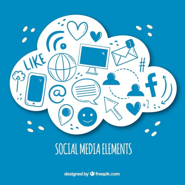 Hand gezeichnete social media elemente in einer wolkenform Kostenlosen Vektoren
