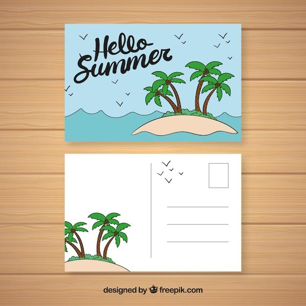 Hand gezeichnete sommerferienpostkarte Kostenlosen Vektoren