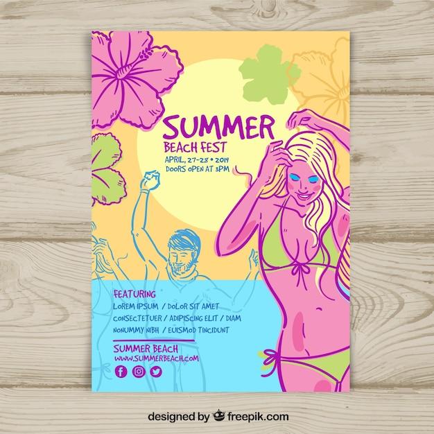 Hand gezeichnete sommerfest-plakatschablone Kostenlosen Vektoren