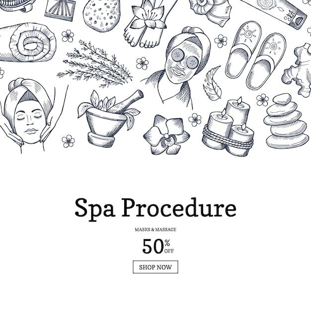 Hand gezeichnete spa-banner Premium Vektoren