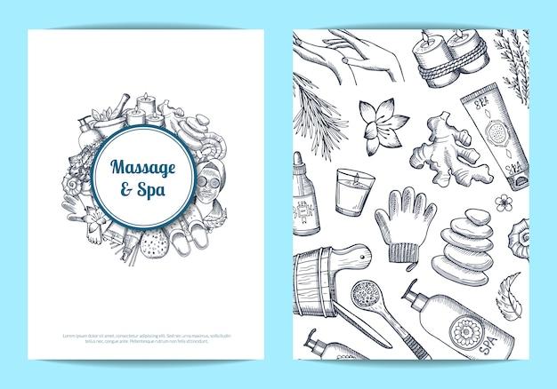 Hand gezeichnete spa-karte Premium Vektoren