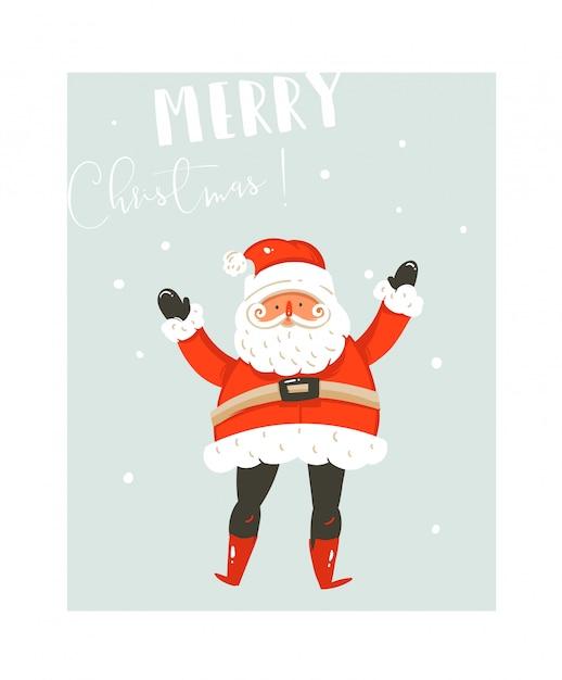 Hand gezeichnete spaß frohe weihnachten zeit waschbär illustrationen kartenvorlage mit weihnachtsmann und moderne kalligraphie phase auf blauem hintergrund Premium Vektoren