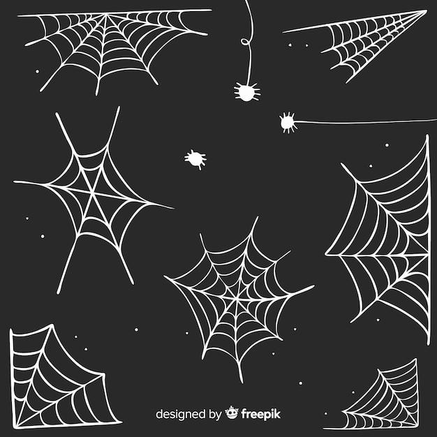 Hand gezeichnete spinnennetzsammlung Kostenlosen Vektoren