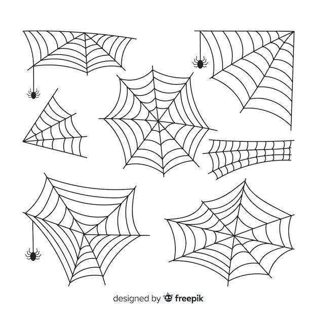 Hand gezeichnete spinnennetzsammlung Premium Vektoren