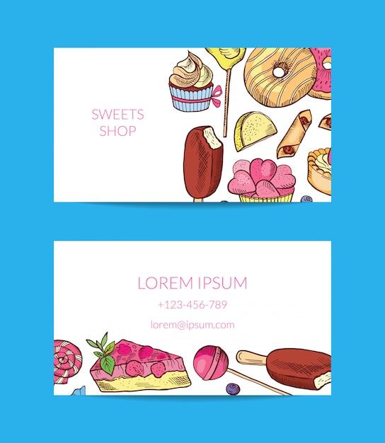 Hand gezeichnete süßigkeiten oder konditorei visitenkarte Premium Vektoren