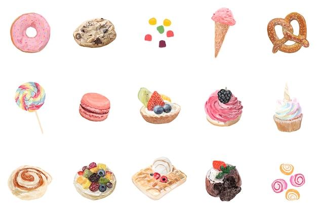 Hand gezeichnete süßigkeits-aquarellart Kostenlosen Vektoren