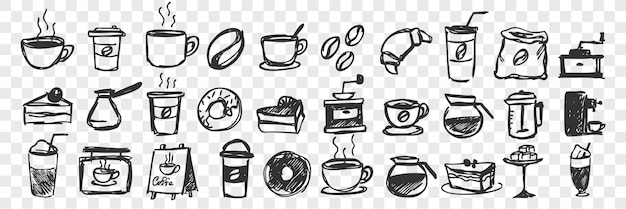 Hand gezeichnete tassen und gebäck doodle set Premium Vektoren