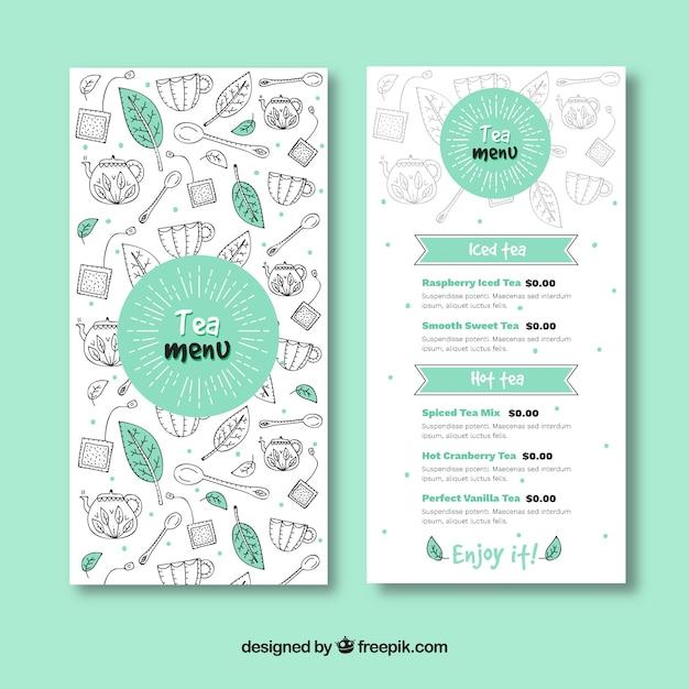 Hand gezeichnete tee-menü-vorlage Kostenlosen Vektoren