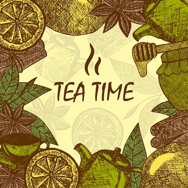 Hand gezeichnete teekulturgegenstände. teekanne, zitrone, zimt, honig, teeblatt. vektorskizzen-kartenschablone. Kostenlosen Vektoren