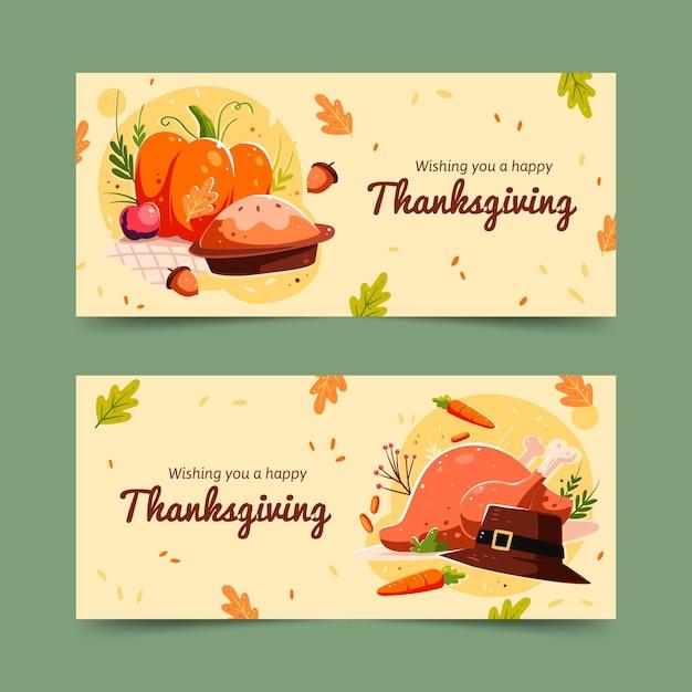 Hand gezeichnete thanksgiving-banner-vorlage Kostenlosen Vektoren