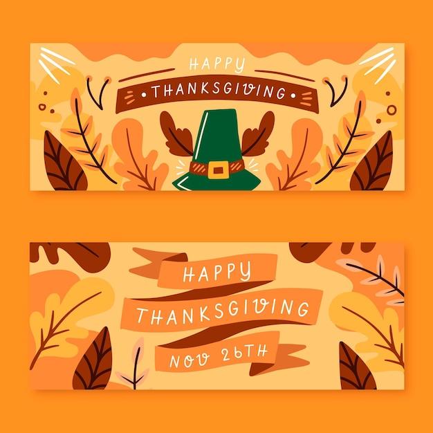 Hand gezeichnete thanksgiving-banner Kostenlosen Vektoren