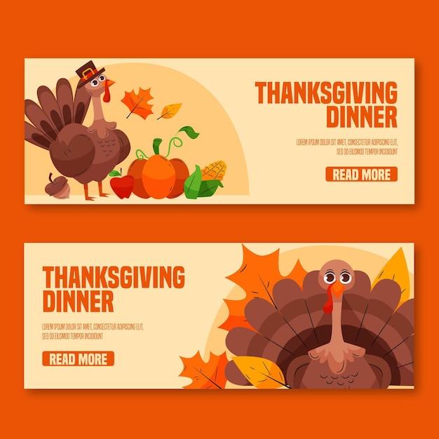 Hand gezeichnete thanksgiving-banner Premium Vektoren