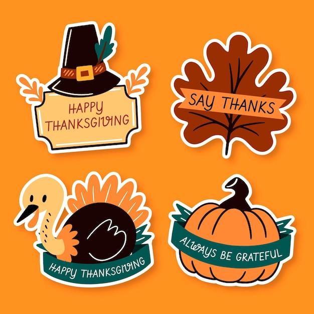Hand gezeichnete thanksgiving-etikettenkollektion Kostenlosen Vektoren