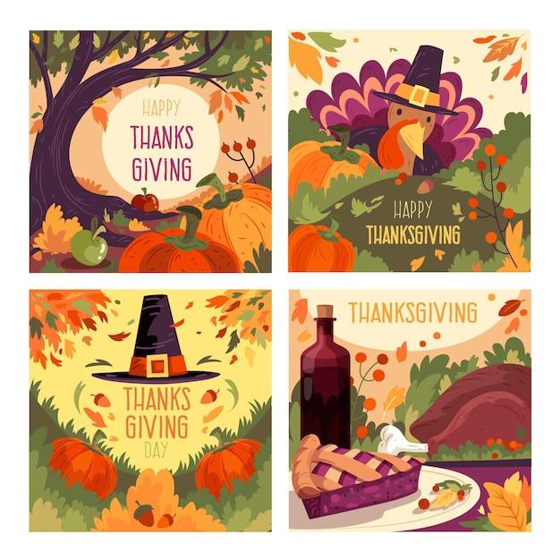 Hand gezeichnete thanksgiving instagram beiträge vorlage Kostenlosen Vektoren