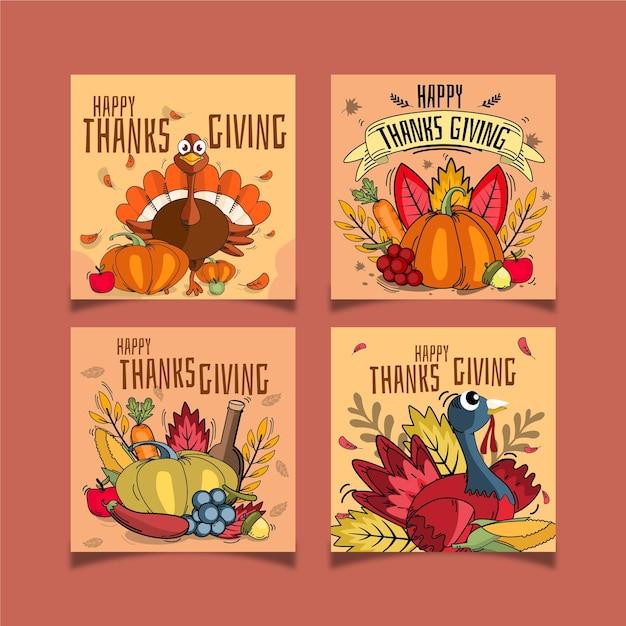 Hand gezeichnete thanksgiving instagram beiträge Premium Vektoren