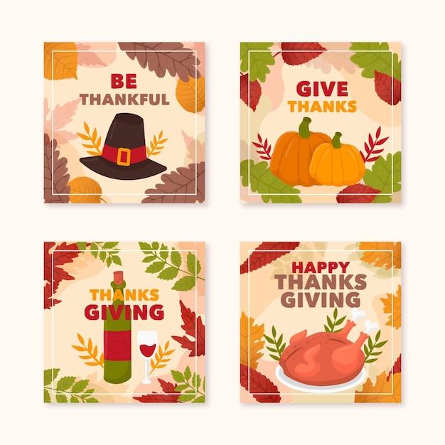 Hand gezeichnete thanksgiving instagram beiträge Kostenlosen Vektoren