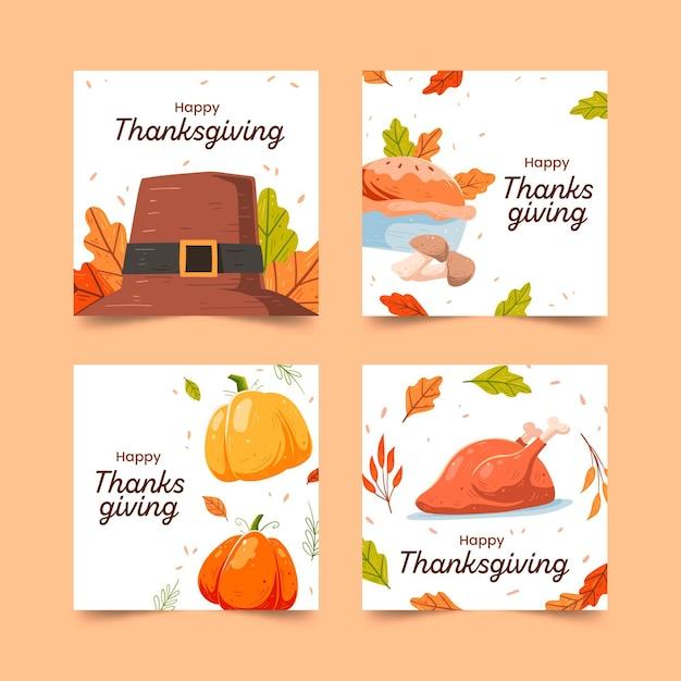 Hand gezeichnete thanksgiving-instagram-post Kostenlosen Vektoren