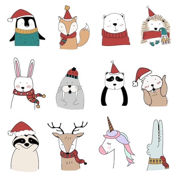 Hand gezeichnete tiere, die einen weihnachtsurlaub genießen Kostenlosen Vektoren
