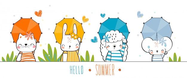 Hand gezeichnete tiere wildtiere niedlich bunte geste glücklich mit sommer halten sie den regenschirm auf die farbe des sets. Premium Vektoren