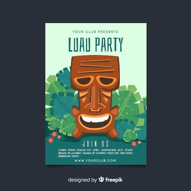 Hand gezeichnete tiki maske luau party poster vorlage Kostenlosen Vektoren