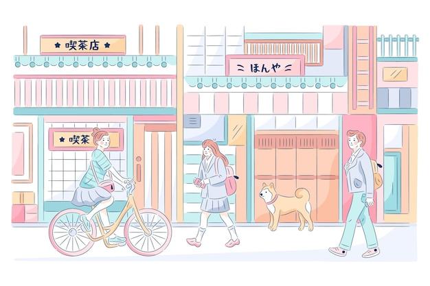 Hand gezeichnete traditionelle japanische straße Kostenlosen Vektoren