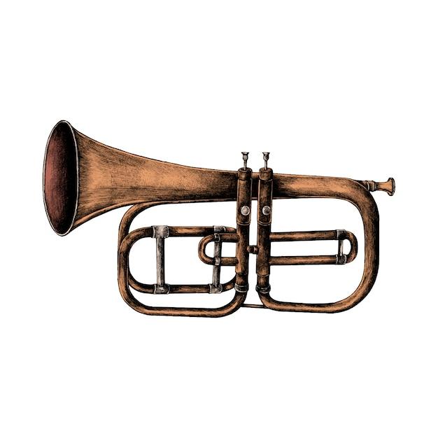 Hand gezeichnete trompete getrennt auf weißem hintergrund Kostenlosen Vektoren