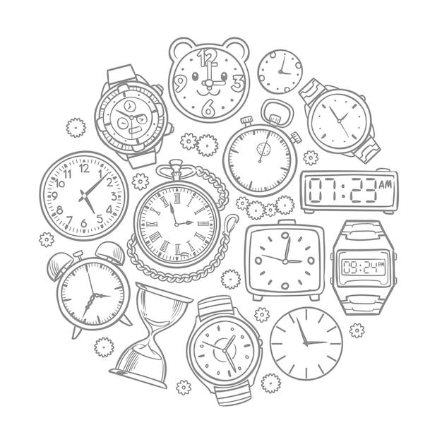 Hand gezeichnete uhr, armbanduhr kritzelt zeitvektorkonzept. illustration der stempeluhr- und armbanduhrskizze Premium Vektoren