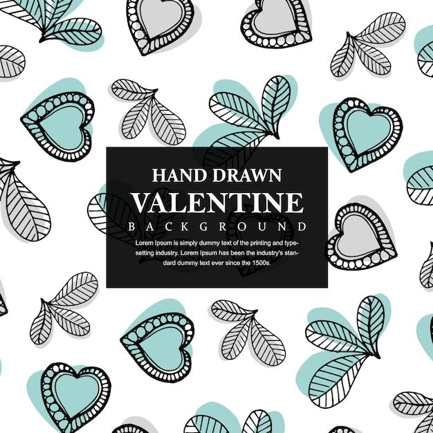 Hand gezeichnete valentinsgruß-innere und blatt-hintergrund Kostenlosen Vektoren
