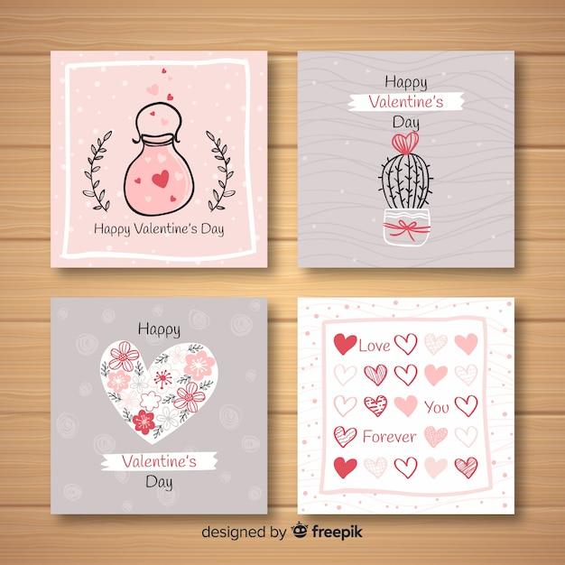 Hand gezeichnete valentinsgrußkartensammlung Kostenlosen Vektoren