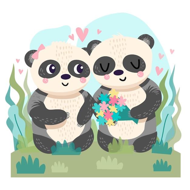 Hand gezeichnete valentinstag pandas paar Kostenlosen Vektoren