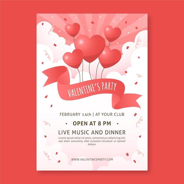 Hand gezeichnete valentinstag party flyer vorlage Kostenlosen Vektoren