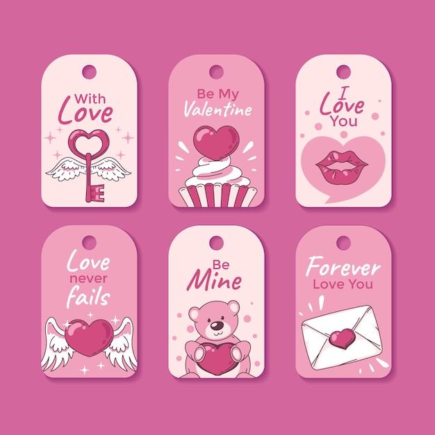 Hand gezeichnete valentinstagetikettensammlung Kostenlosen Vektoren