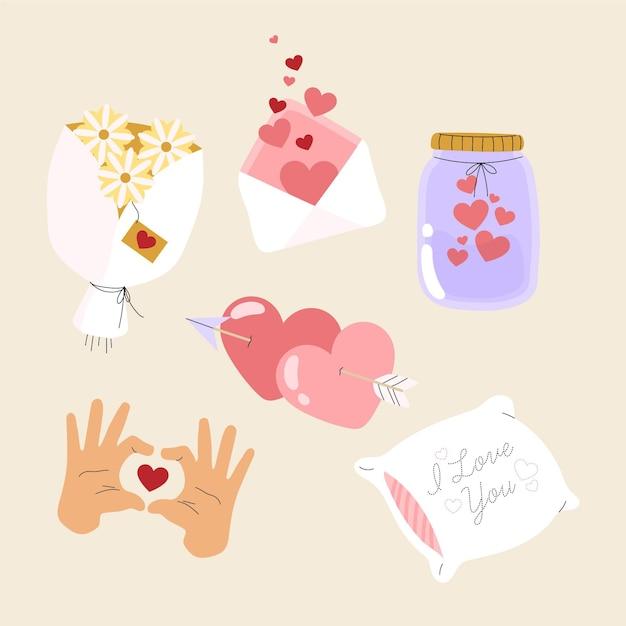 Hand gezeichnete valentinstagselementsammlung Kostenlosen Vektoren