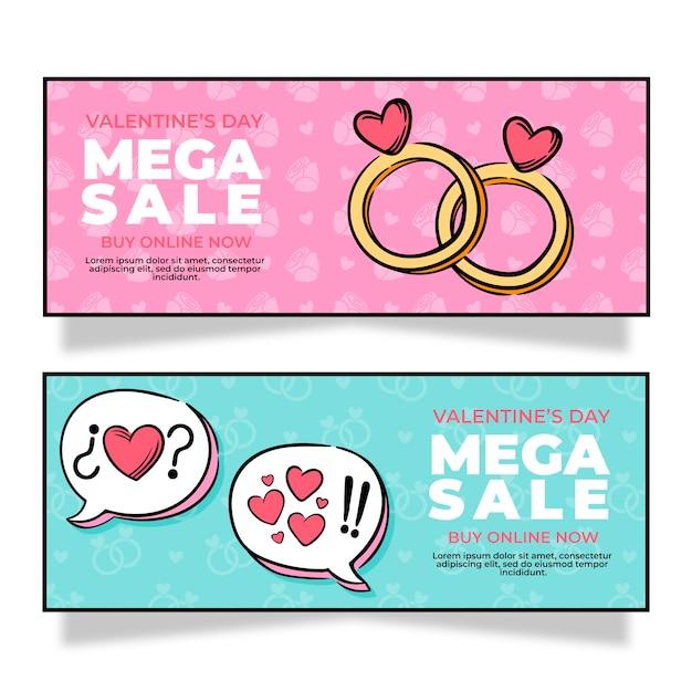 Hand gezeichnete valentinstagverkaufsfahnen Kostenlosen Vektoren