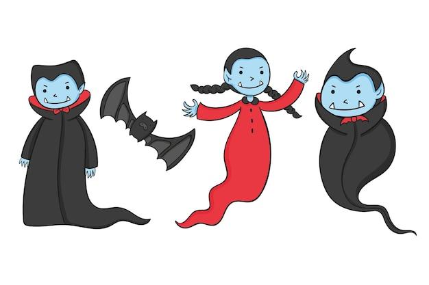 Hand gezeichnete vampir-charaktersammlung Kostenlosen Vektoren