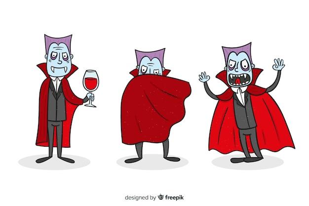 Hand gezeichnete vampircharaktersammlung auf rot Kostenlosen Vektoren