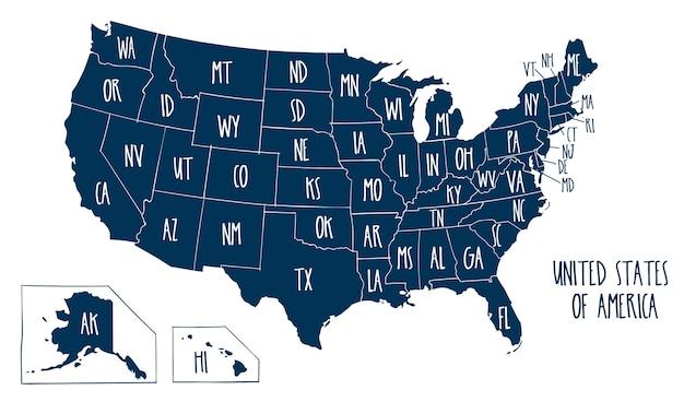 Hand gezeichnete vektorkarte der vereinigten staaten von amerika. Premium Vektoren