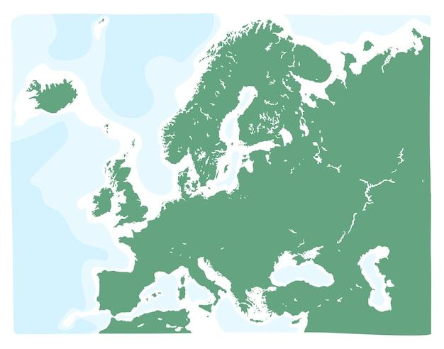 Hand gezeichnete vektorkarte von europa in der grünen farbe Premium Vektoren