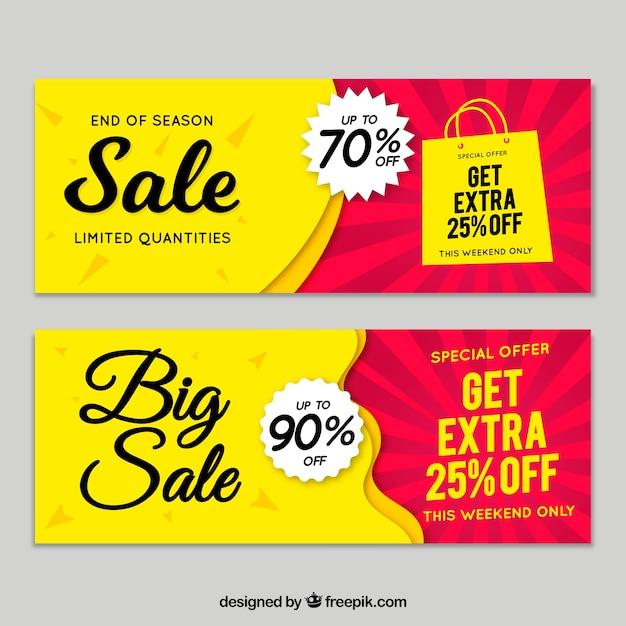 Hand gezeichnete Verkaufsfahnen Kostenlose Vektoren